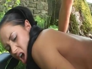 Nasty slut gets her butthole fucked in nature