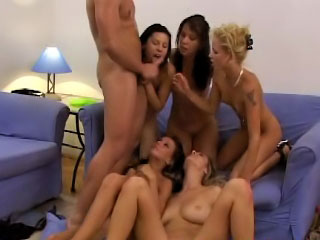 Five girls surrounding a reverse gangbang back twosome most assuredly accidental clothes-horse