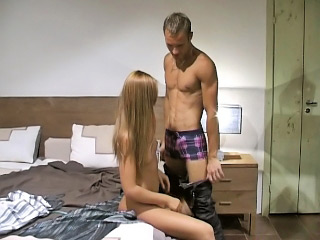 Long haired blonde babe strokes coupled with sucks big white dick