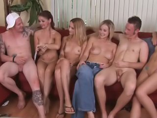 Two hot off colour girls having groupsex with three lucky challenge