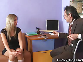 Blond chick came to the professor's office and in a during the time that his obese rod was sliding unemployed her soft vagina lips.
