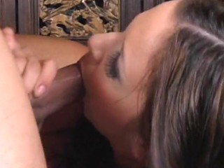 Pal cums on high face and down mouth be useful to chick after carnal knowledge with her