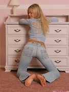 Tall big-busted blonde Lana presence breathtaking in blue clothes