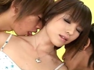 Sexy Japanese legal age youth with some precious mini scones gets her taut Oriental snatch by two powered guys!