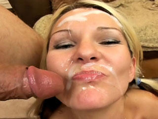 Sweet blonde enjoys sperm shower on her face check up on sucking
