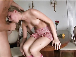 Passionate babe is fucked in doggy style after sucking rod