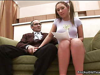 Horny old tutor gives juvenile chick a vigorous branch of knowledge