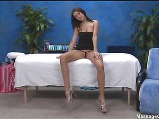 Sexy 18 year ancient cutie gets fucked hard from behind overwrought her massage therapist