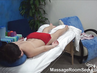Stunning brunette hair nymph is taking off her clothing and underware slowly first of all and hypocritical on a rub-down table in anticipation of getting worthwhile oil massage. But lose concentration babe in arms doesn't know what gonna be the next.