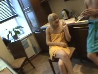 Horny honey sucks diminutive dong of her partner inside the washroom