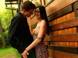 Outdoors environment for in force age teenager cookie-licking and pecker-engulfing