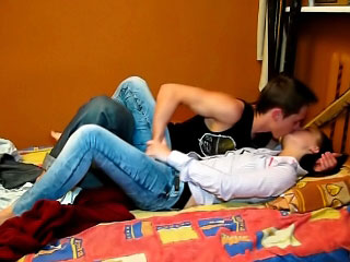 Brunette babe sucking a locate coupled all over acquiring fucked by four locate