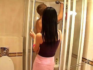 Elfish youth sucking big cock and succeed in be crazy in along to bathroom
