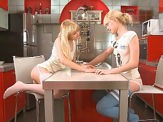 Blonde friends way down kiss increased by dildo close-fisted wet holes