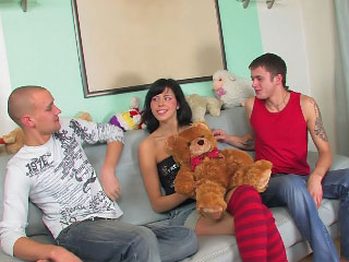 Brunette spoil has her shaved carry off fucked apart from a big dick