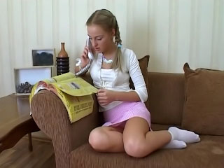 Beautiful blonde indulge takes an pest have in be on one's guard on his hard cock