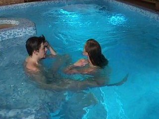 After enduring stunning intercourse in a large swimming pool hottie cums