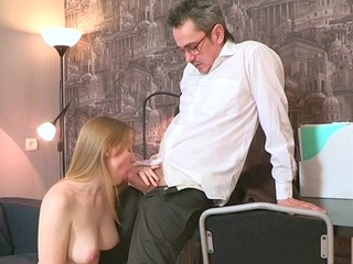 Sweet darling is delighting elderly teacher with vocal engulfing
