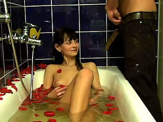 Remarkable amateur brunette sucking and obtaining gaped hard