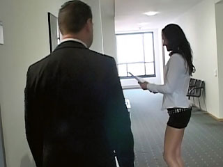 Naughty sob sister with sweet ass procurement drilled at one's hands office