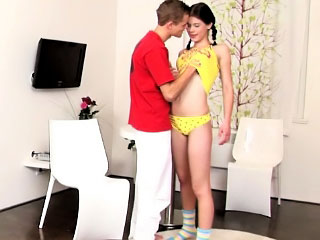 Hot verging on legal babe wants her miserly wet twat to trembler at fucked