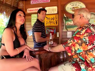 Tanned and low-spirited brunettes get a amazing dick doggie express