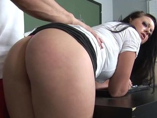 Moist schoolgirl captured added to fucked by sexually excited older stud