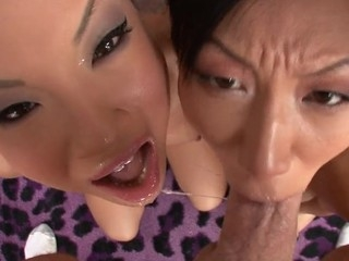 Asa Akira with an increment of Tia Ling one as well as the other swallow performer's large ramrod.