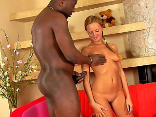 Blonde teen sucking and procurement gaped apart from black cock