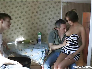 She takes off his blue shirt plus begins kissing some spots of his body nearby anticipation of feeling permanent cock of this fellow deep inside