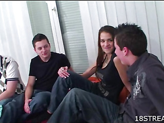 Three kinky dudes are gangbanging one sex appeal teenie