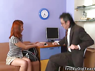 Legal Age Teenager beauty forgot her sex toy in the soft-cover and when her teacher found it this guy asked her almost play with it befitting in his office.