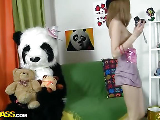 Oh, what a gainful panda bear! This Chab's got a present for this beautiful teenage angel - a brand mint photo camera! Why not have a photo session? With each photo put emphasize gal gets hornier and hornier, and pretty soon this babe poses bare shamelessly. But hey, panda wants some award for his gift, smth take a shine to kinky sex. And put emphasize panda's well equipped for that! An enormous sex toy is always ready for some action! So put emphasize camera's forgotten, and put emphasize breasty teenage happily rides put emphasize ding-dong penis of her concupiscent fluffy ally.