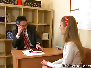 Cute hottie came to along to teacher's place and acceded to divert him. The old stud pets her pinkish vagina.